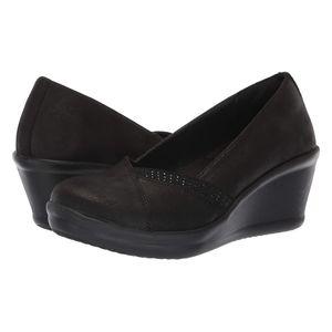 Skechers Womens Black Dress Wedge Shoes Pump
